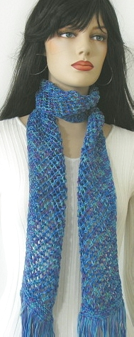 Handmade Scarf Variegated Blues/Purples Scarf