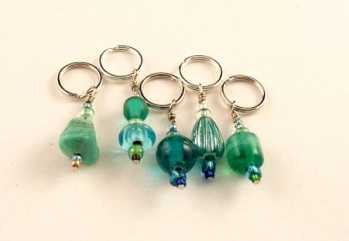 Handmade Stitch Markers - Blue-Green/Turquoise
