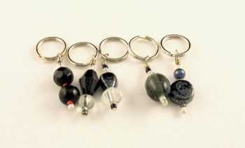 Handmade Stitch Markers - Black/Charcoal