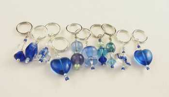 Handmade Stitch Markers - Blues