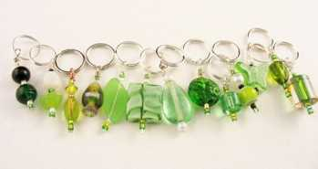 Handmade Stitch Markers - Olives/Lime