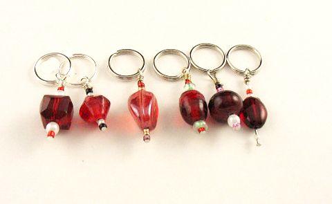 Handmade Stitch Markers - Ruby/Reds