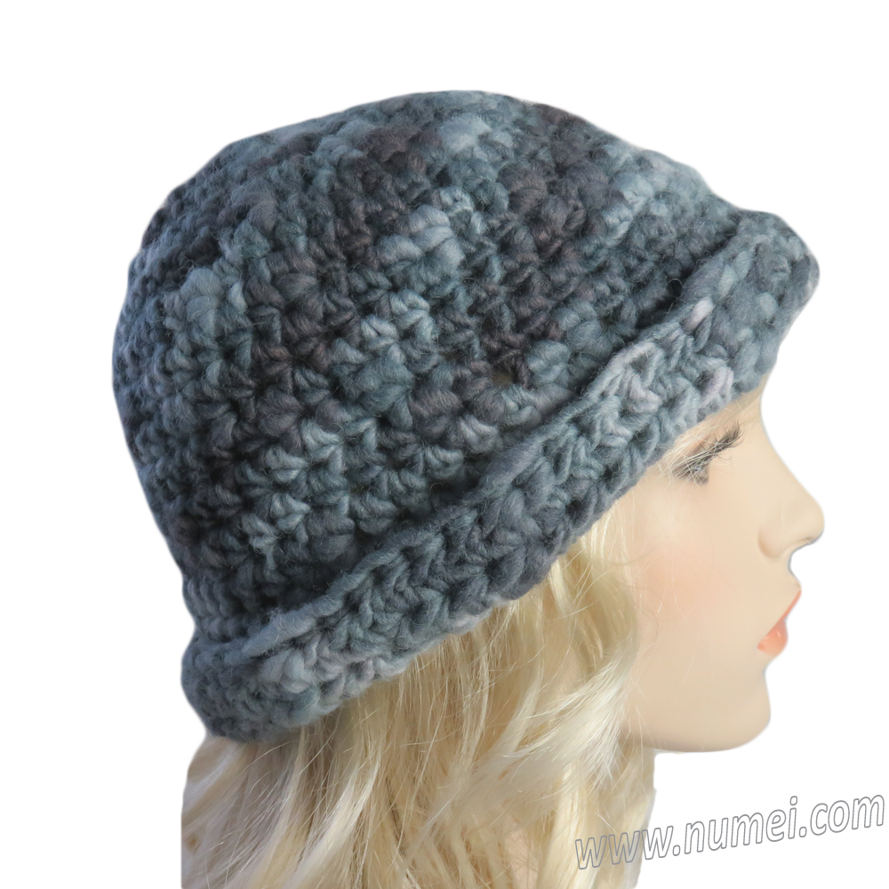 Crochet Pattern Rolled Brim Flex Derby Hat