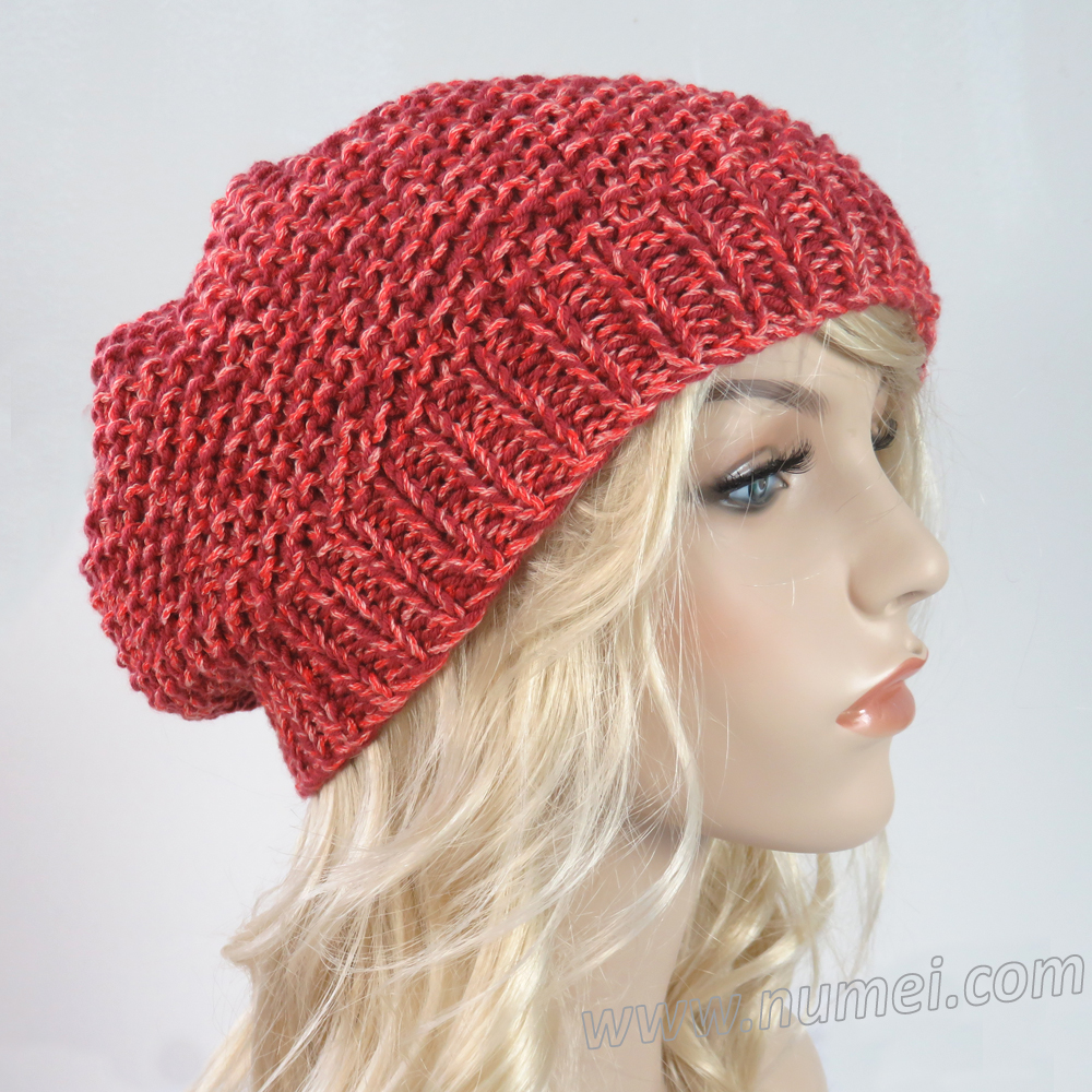 Handmade Knit Slouchy Hat / Beret - Barn Red Speckled
