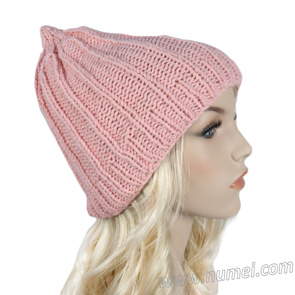 Handmade Knit Pointed Tip Ribbed Hat - Soft Pink