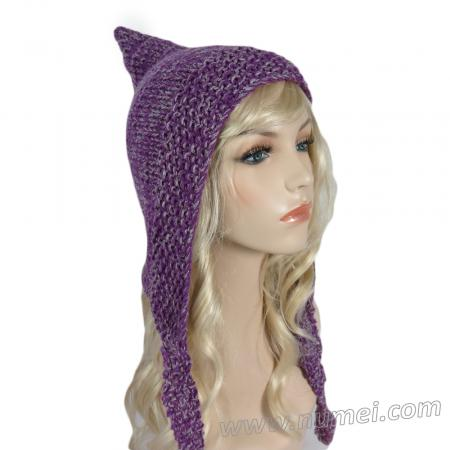 Handmade Knit Pixie Hat - Purple