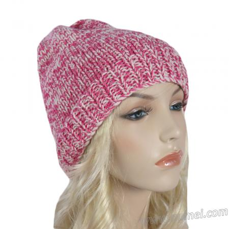 Handmade Knit Casual Winter Hat - Pink/White