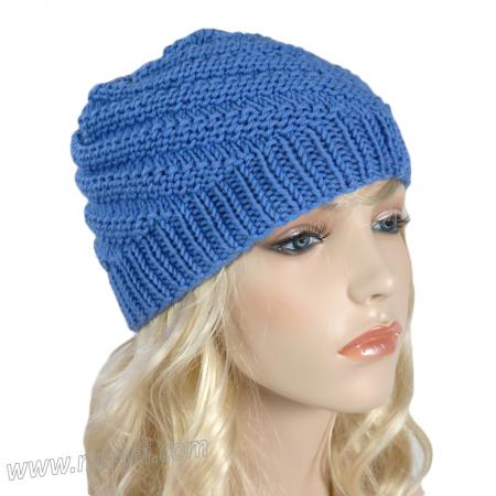 Handmade Knit Swirl Ribbed Hat - Medium Blue