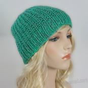 Handmade Knit Ribbed Hat V1 - Green