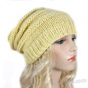 Handmade Knit Beehive Hat - Light Yellow