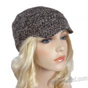 Handmade Knit/Crochet Newsboy Cap - Dark Brown