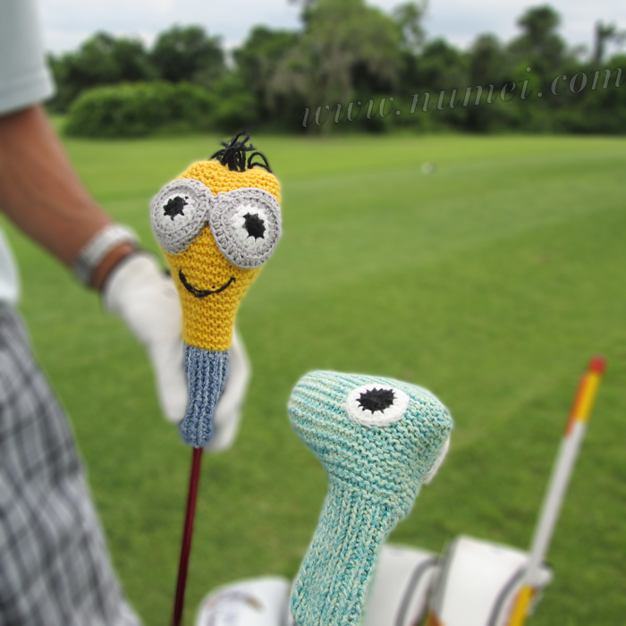 Knitting Pattern Golf Club Covers Green Monster And Minion