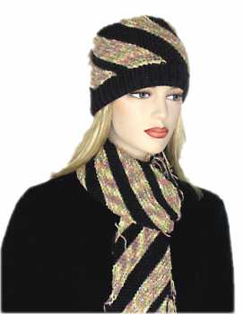 Knitting Pattern: Beaver Creek Diagonal Striped Hat and Scarf Set