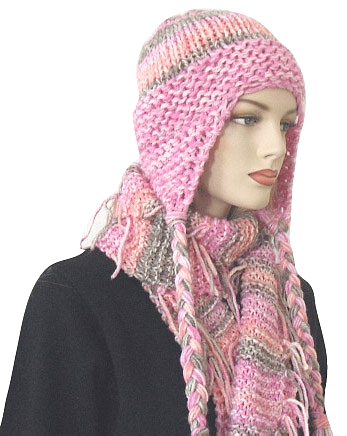 Knitting Patterns Scarves And Hats : Knitting Pattern: Steamboat Striped Earflap Hat and Scarf Set