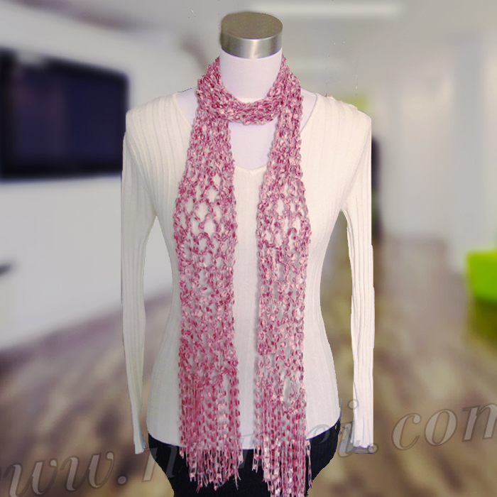 Crochet Scarf Patterns Ribbon Yarn : Free Crochet Pattern: Diamond Mesh Scarf (Ladder Ribbon Maxi)