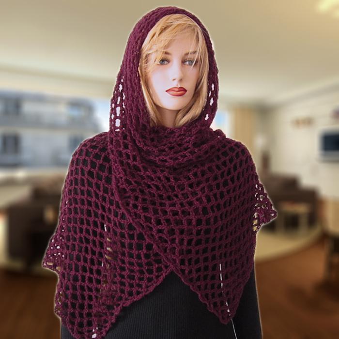 Free Crochet Pattern Fanchon Diamond Mesh Shawl