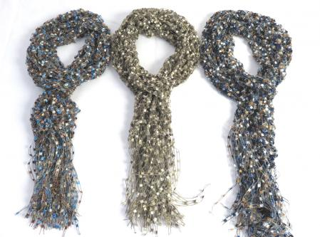 Ladder Ribbon Glitter Scarf