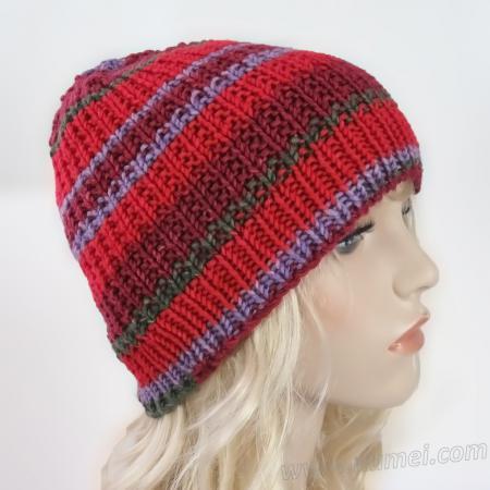 Handmade Hat Ribbed Hat - Coleus