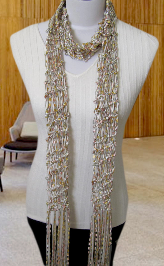 Free Knitting Pattern For Ribbon Scarf : Free Knitting Pattern: Angela Drop Stitch Scarf Pattern