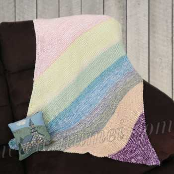Free Knitting Pattern Wing Tip Diagonal Striped Baby Blanket