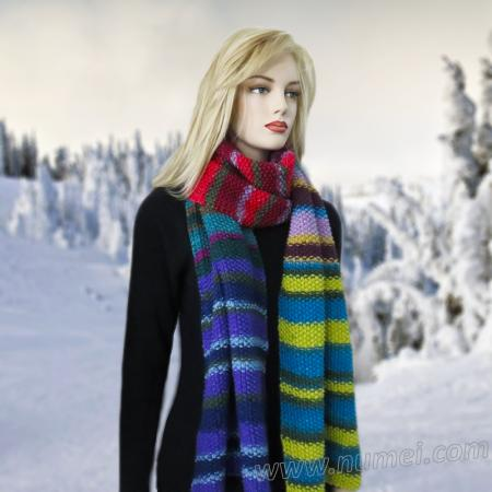 Free Knitting Pattern Aztec Super Scarf and Shawl