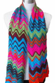 Free Knitting Pattern Pia Colorful Wave Scarf