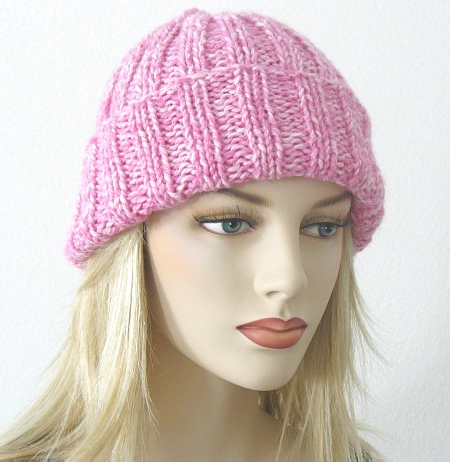 Knitting Pattern Hat Straight Needles Free : Free Knitting Pattern: Toni Ribbed Hat