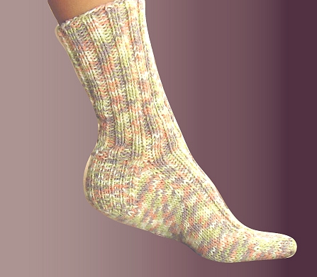 Double Knit Sock Pattern : Free Knitting Pattern: Ashley Ribbed Socks