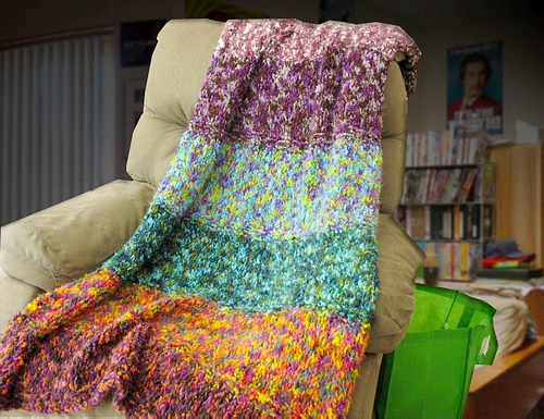 Free Knitting Pattern Zany College Dorm Throw Afghan