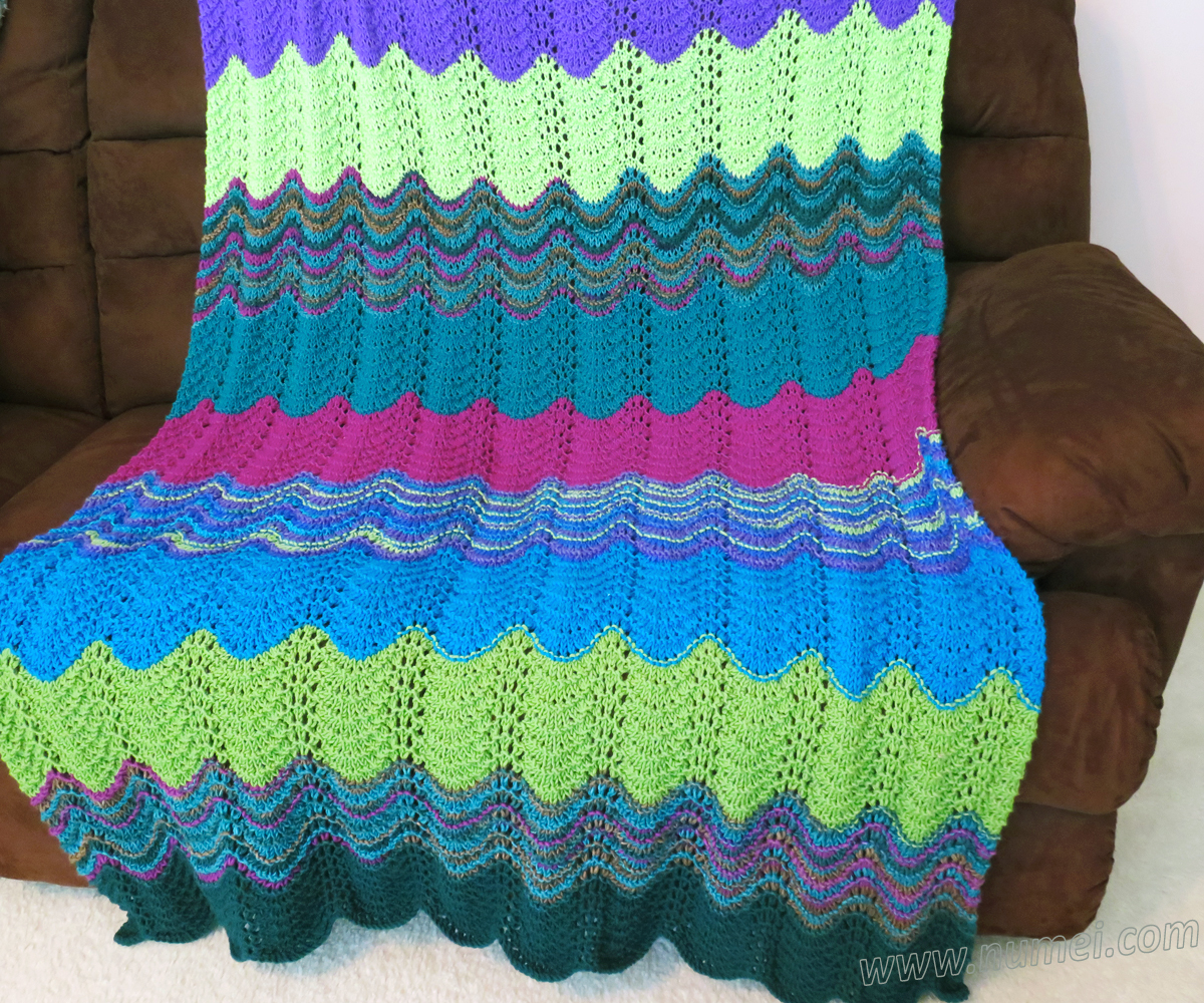 Free Knitting Pattern Michelle Wavy Ripple Afghan Throw