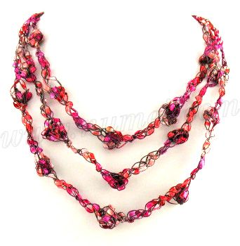 Free Crochet Pattern Ladder Ribbon Necklace Pattern 3