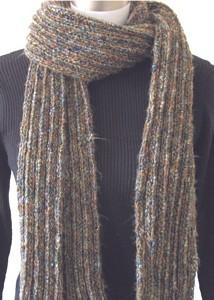 Knitting: pattern, chunky yarn, knitted scarf